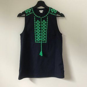 J Crew embroidered Sleeveless top